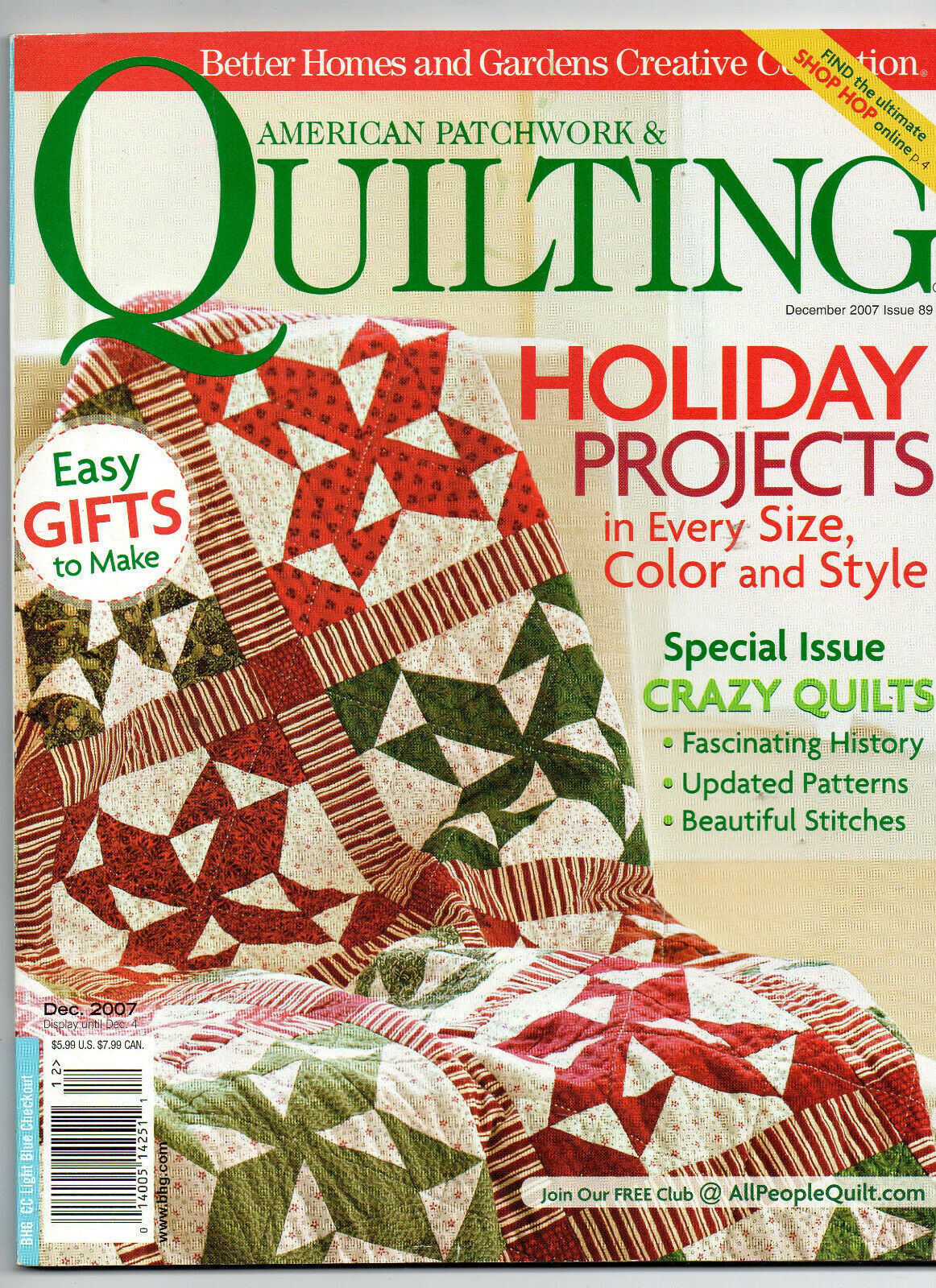 Primary image for Dec 2007/American Patchwork & Quilting/Preowned Craft Magazine