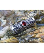 925 Silver Tube Locket Pendant with Garnet Gem LP-286 - $19.95