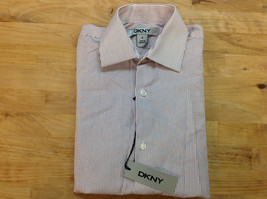 DKNY Boys' Thin Stripe Button-Down Shirt, Burgundy/ White - Size 8R - $19.79
