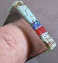 NATIVE AMERICAN Navajo STERLING SQUARE INLAY STONE Ring LARRY CASTILLO S... - $242.50