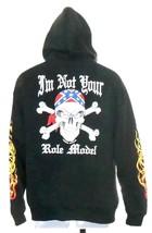 Tropical Tattoo Black Zip Front Motorcycle Biker Hoodie Large Skulls Reb... - $33.32