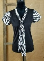 Style & Co. womens size S short sleeve shirt silk blend trim tied front - $15.84