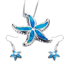 FDLK   New Stylish Blue Color Starfish Necklace Earring Set Fashionable ... - $16.29