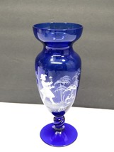 Mary Gregory Cobalt Blue Glass Vase Girl with Flower  - $39.60