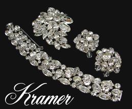 Vintage KRAMER Rhinestone Bracelet Brooch Earrings Set Crystal Cha-Cha B... - $425.00