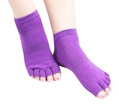 Cotton Toe Yoga Socks Non Slip Home Warm Purple Socks - $216,48 MXN