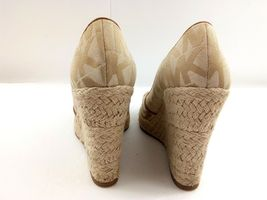 MICHAEL KORS Womens Wedges 7.5 Tan Cabana Peep Toe Platform Espadrilles $144 image 5