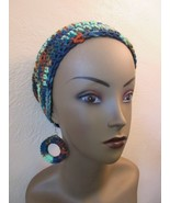 Crochet Hat & Earrings Set Green Tones - $19.75