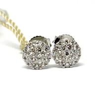 WHITE GOLD EARRINGS 750 18K, DIAMONDS CARAT 0.39, BUTTON, ROUND, pavÉ image 1