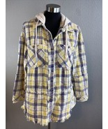 We The Free People Calico Basin Plaid Jacket XS Hooded Button Down Yello... - $66.82