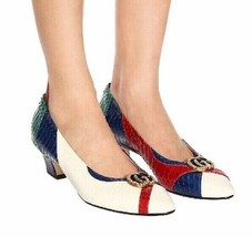 $1290 NIB Gucci Elaphe Snakeskin Pump Shoes Low Heel Double G GG 37.5 54... - $593.01
