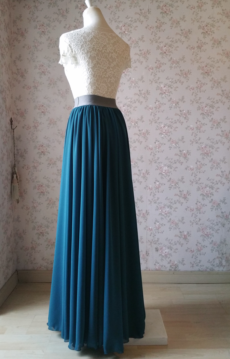 Women maxi chiffon skirt bluegreen 4