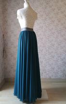 Chiffon Bridesmaid Maxi Skirt High Waist Chiffon Maxi Skirt Teal blue Plus Size image 5