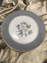Royal Jackson China Dinner Plates 10 Inches – Gray Border White Flowers - $14.52