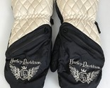 Harley Davidson Black And Cream Quilted Mittens Women's Sz Large (Y18)