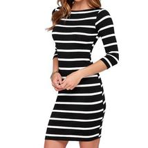 Slimming Wrap Women's Fashion Clothing Casual Striped Bodycon Dress