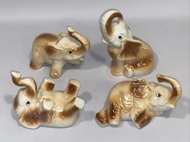 Elephant Figures Playful Ceramic Set 4 Lot Metallic Glaze Raised Truck S... - $49.99