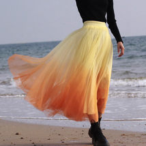 Women Dye Yellow Full Tulle Skirt High Waist Tie Dye Tulle Skirt Holiday Outfit image 3