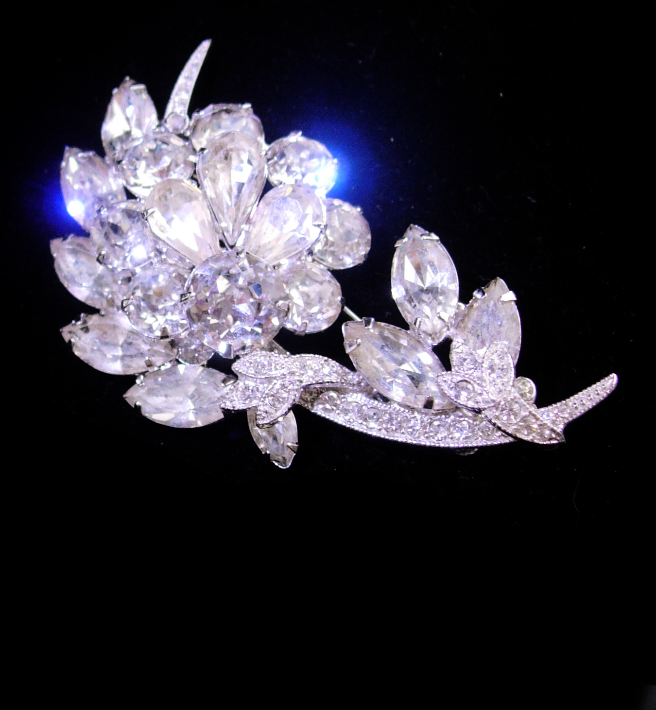 Primary image for Eisenberg Ice Brooch - numbered pin - silver flower spray - wedding jewelry - Vi