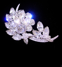 Eisenberg Ice Brooch - numbered pin - silver flower spray - wedding jewe... - $165.00