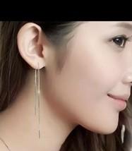 Simple Trendy 925 Silver Long Chain Earrings Threader Dangle Earrings [EAR-170] - $9.90