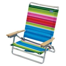 Folding Camping Chair Reclining Beach Seat Metal Colorful Chairs Outdoor... - $69.03