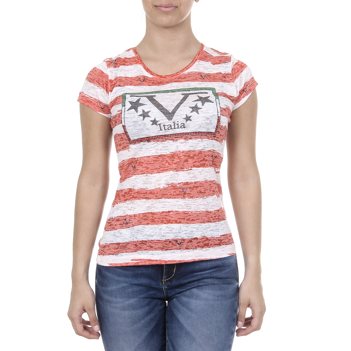 Primary image for V 1969 Italia Womens T-shirt Short Sleeves Round Neck Multicolor CHARLOTTE