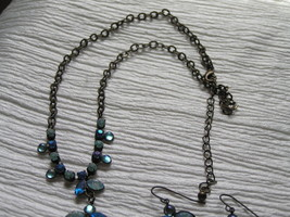 Estate Demi Frosted & Not Shades of Blue Rhinestone Abstract ANGEL Necklace image 2
