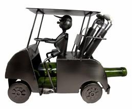 Recreational Golfer Riding Golf Cart Hand Made Metal Wine Bottle Holder ... - $110.17