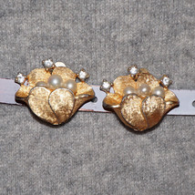 Vintage Rhinestone Glass Pearl Flower Earrings - $30.00
