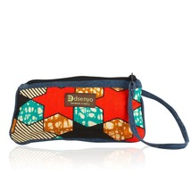 Authentic Hand Made Denim and African Textile/Fabric Wristlet (Tomato Re... - $23.75