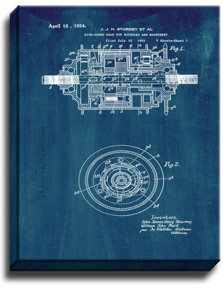 Primary image for Five-speed Gear for Bicycles and Machinery Patent Print Midnight Blue on Canvas