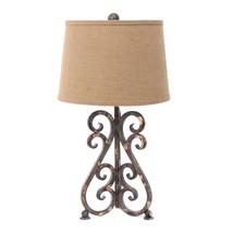 "24"" x 23"" x 6"" Bronze Vintage Metal Table Lamp With Khaki - $200.88"