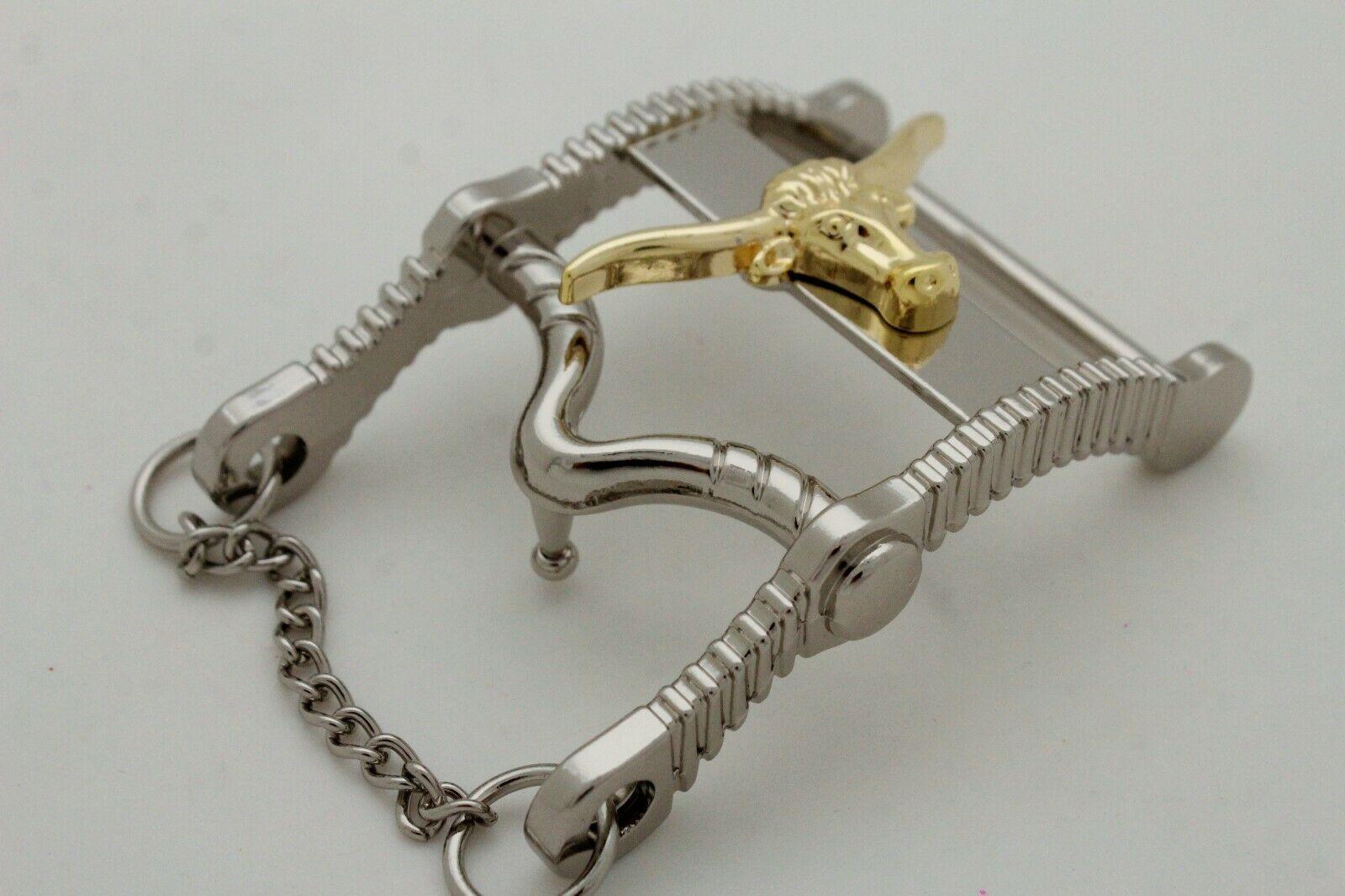 Herren Freizeit Western Cowboy Gürtelschnalle Silber Metall Lang Horn Kuh Gold image 6