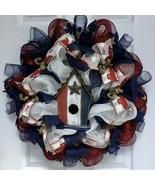 Country Rustic Patriotic Birdhouse Wreath Handmade Deco Mesh - $94.99