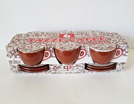 Nuova Point Tazze Caffe Set 6 Espresso Coffee Cups Saucers Palermo Brown... - $49.49