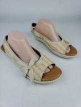 Born Slingback Espadrille Sandals Stripe Canvas Wedge Open Toe Shoes Sz 11 - $23.36