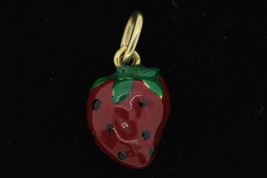 Vintage (1980's) 14K Yellow Gold Enameled Strawberry Pendant - $140.00