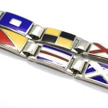 Bracelet Argent 925, Drapeaux Nautique Émaillés,Long 18 cm, Épaisseur 6 MM image 2
