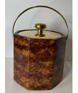 Kraftware Vinyl Ice Bucket Brown With Brass Lid and Handle Mid Century 8... - $21.73