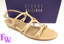 New STUART WEITZMAN Size 8.5 TURNING DOWN Beige Patent Sandals Shoes 8 1/2 - $119.00