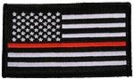 THIN RED LINE BLACK FLAG 2 X 3  EMBROIDERED PATCH WITH HOOK LOOP - $17.14