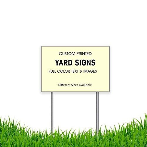 "BANNER BUZZ MAKE IT VISIBLE Custom Yard Signs with Metal Stakes (9"" x 12"")"