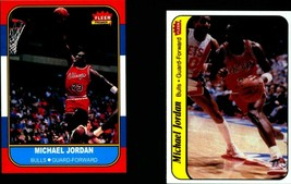Michael Jordan 1986-1987 Fleer Basketball Reprint Rookie Card & Sticker ... - $3.90