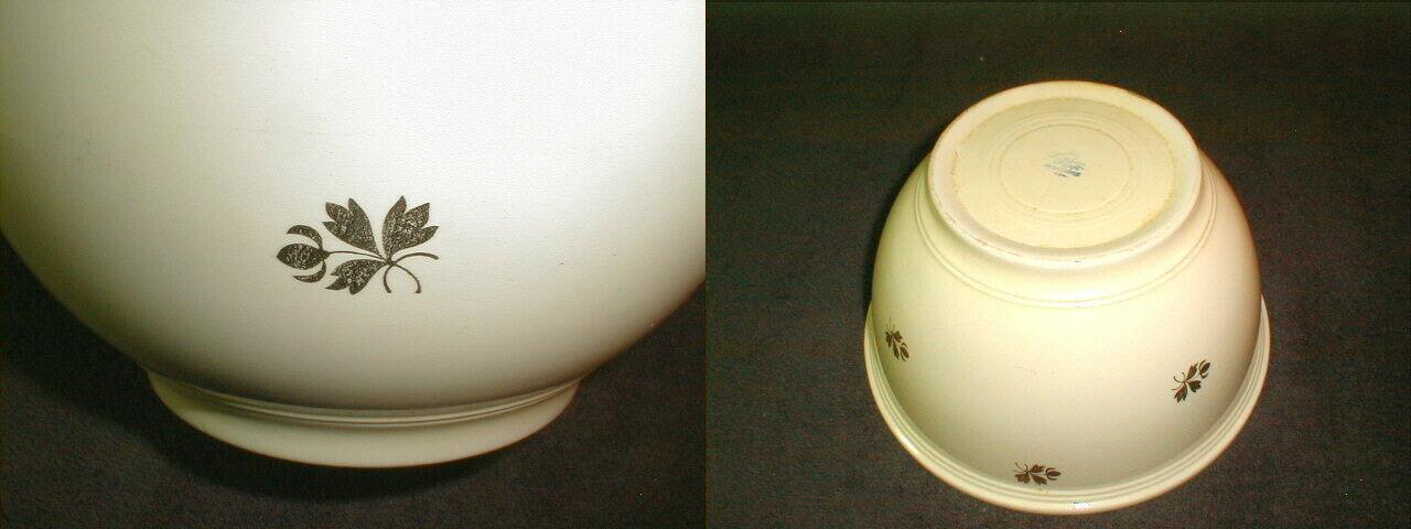"""Vintage homer laughlin kitchen kraft serving mixing bowl 10"""" acorn leaf rare"""