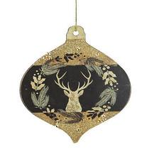 "Kurt Adler 4"" Gold and Black Woodland Buck Silhouette Onion Christmas Or... - $5.68"