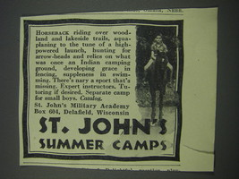 1930 St. John's Military Academy Ad - St. John's Summer Camps - $14.99