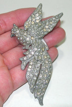 VINTAGE LARGE ANTIQUE PARROT BIRD OF PARADISE COCKATIEL RHINESTONE BROOC... - $60.00
