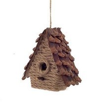 "5"" Country Cabin Style Jute and Pine Cone Birdhouse Christmas Ornament - $6.92"