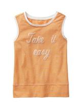 GAP Kids Girls Tank Top Sz  XL 12 Graphic Orange Thin Stripe Sleeveless ... - $14.84